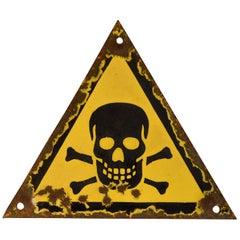 WWII Era Skull and Crossed Bones Enamel Sign