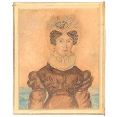 Folk Art Miniature Watercolor of Fancy Lady