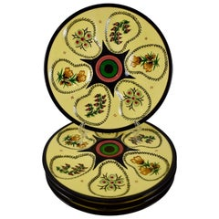Midcentury French Faïence Henriot Quimper Floral Oyster Plates, Set of Four