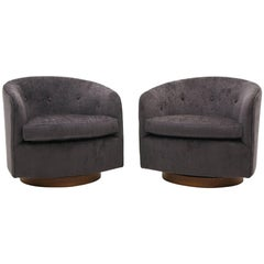 Pair of Milo Baughman Tilt Swivel Club Chairs, Charcoal Robert Allen Chenille