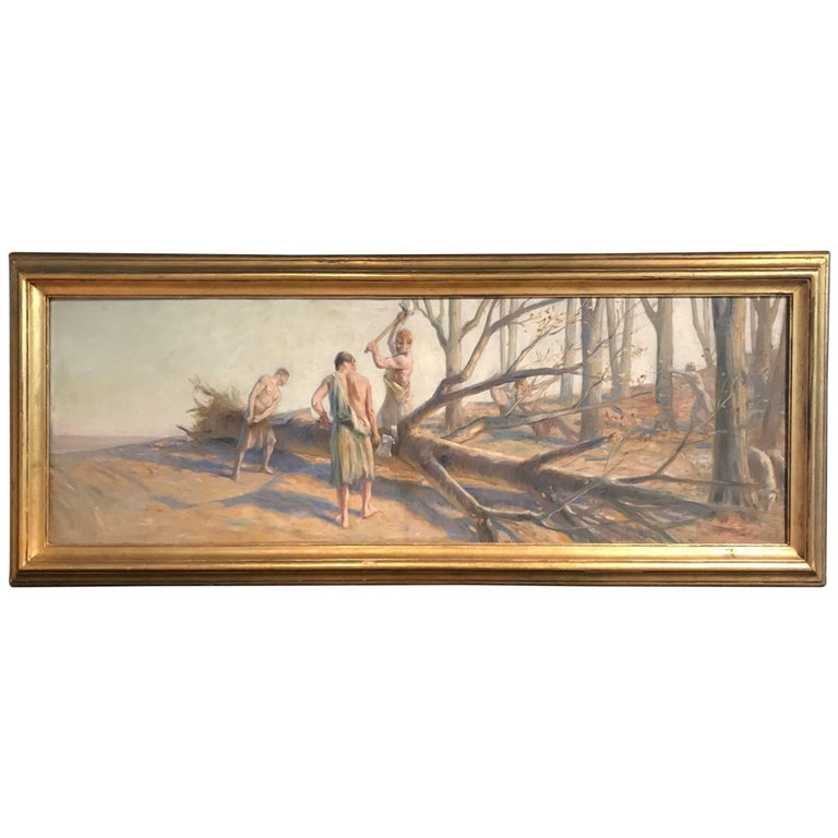 French 19th Century Painting, Les Boucherons