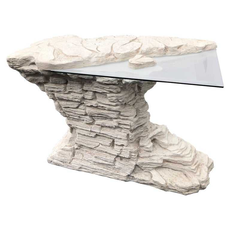 Vintage Faux Rock Stone Console Table For