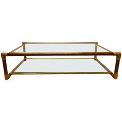 Italian Midcentury Bamboo, Rattan and Glass Double Level Coffee Table by Banci