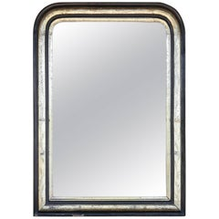 Antique Rare French Black and Silver Gilt Louis Philippe Mirror with Leaf Detail