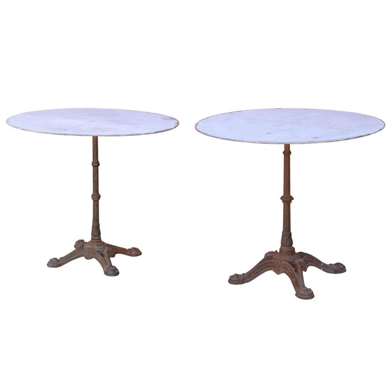 1920s French Cast Iron and Zinc Round Bistro Table - Two Available