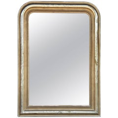 Antique French Gilt Frame Louis Philippe Mirror with Beading and Leaf Detail