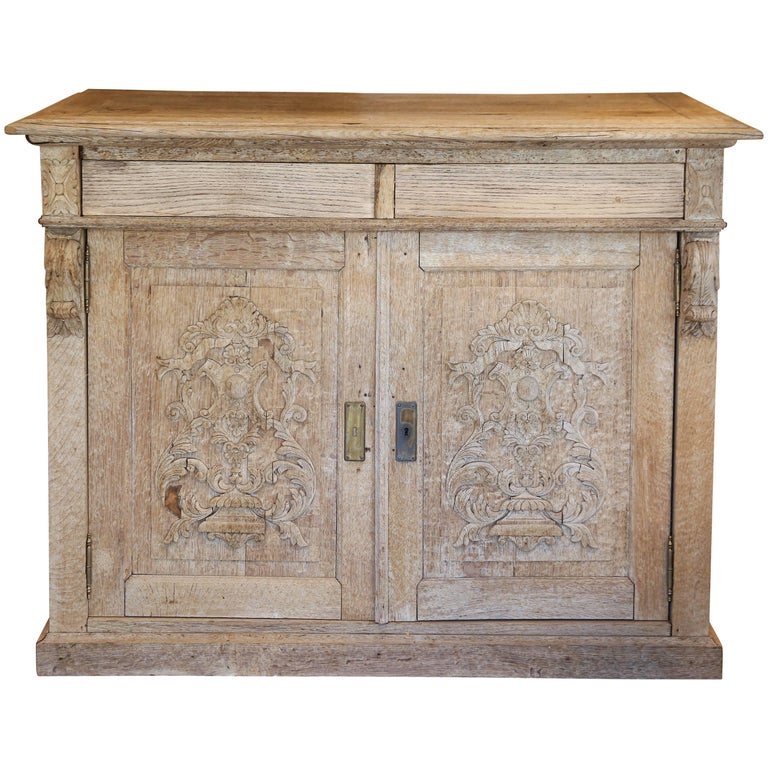 Antique Stripped French Oak Cabinet With Carved Appliqu Doors At