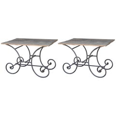 Pair of Antique French Iron and Wood Patisserie Tables
