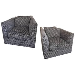 Pair of Vintage Modern Swivel Club Chairs in New Black and White Jacquard Fabric