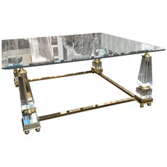 Vintage Hollywood Regency Brass Glass Lucite Obelisk Designer Coffee Table