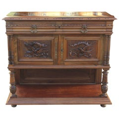 French Louis XIII Sideboard or Buffet Marble-Top Solid Walnut, circa 1890s