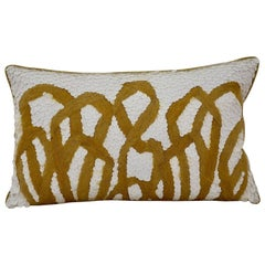 Handcrafted Pillow Mohair Yarn and Opaque White Sequins