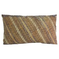 Vintage Hand-Blocked Batik Lumbar Decorative Pillow