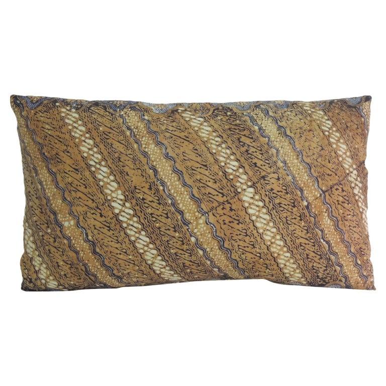 Vintage Hand-Blocked Ikat Lumbar Decorative Pillow
