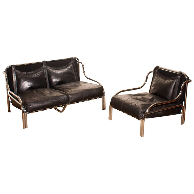 1960s, Leather and Chrome Lounge Sofa and Chair by Gae Aulenti for Poltronova For Sale