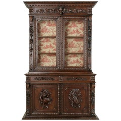 Late 19th Century French Henri II Style Hand-Carved Oak Buffet Deux Corps