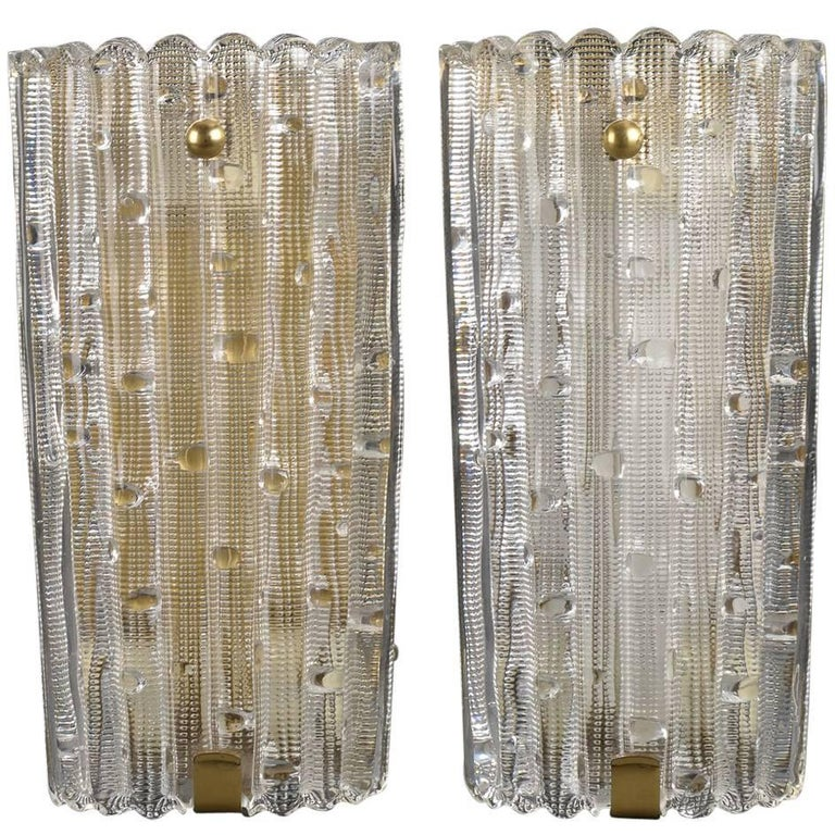 Pair of Large-Scale Pressed Glass and Brass Wall Sconces by Orrefors of Sweden