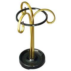 Sculptural 1950s Midcentury Umbrella Stand Golden Anodized Aluminum Black Iron