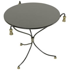Mid-20th Century Iron Cocktail Table, Side Table with Bronze Tassels Black Glass