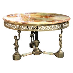 Maison Jansen Round Coffee or Cocktail Table with Onyx Top and Baby Base Bronze