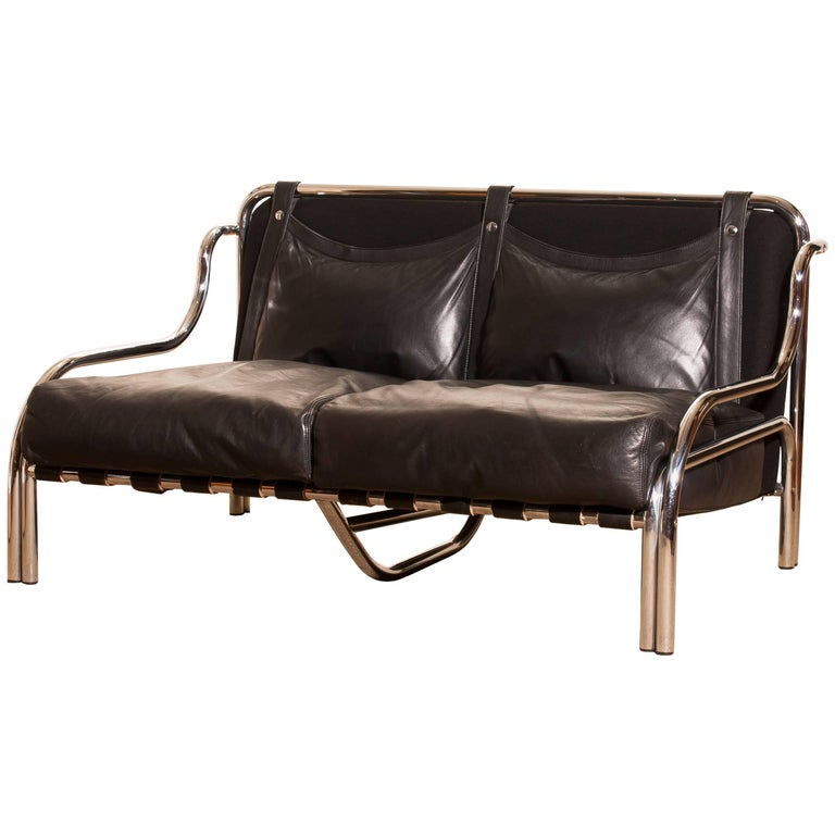 1960s, Leather and Chrome Lounge Sofa by Gae Aulenti for Poltronova