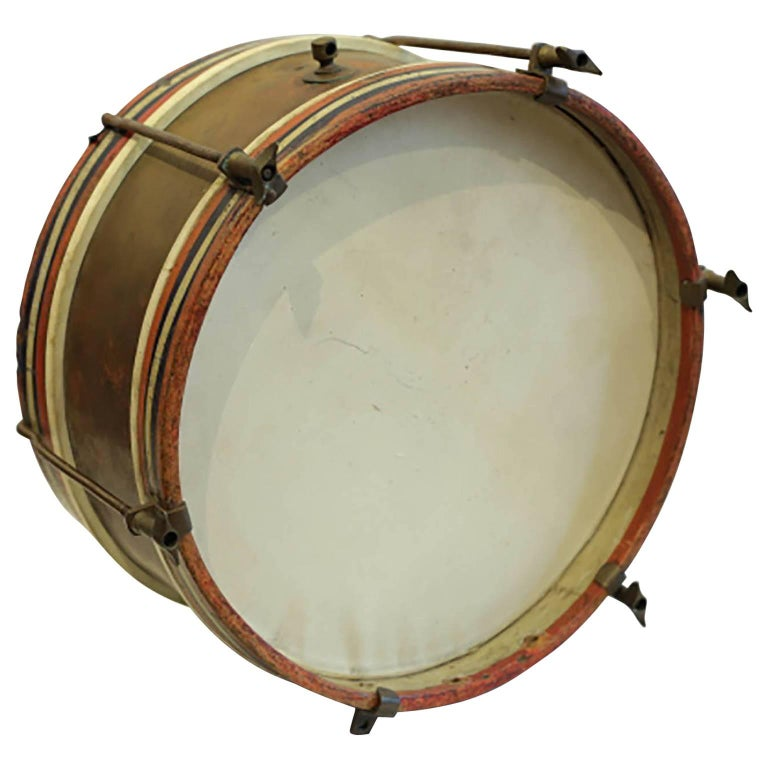 Early 20th Century Wood, Brass and Calfskin Snare Drum, circa 1920-1940s