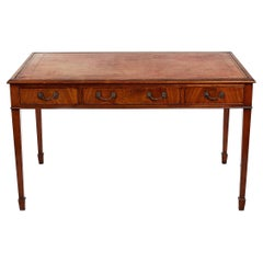 19th Century Mahogany Writing Table with Tooled Leather Top
