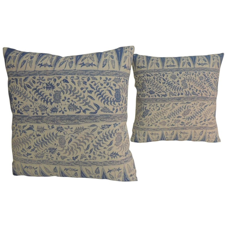Pair Of Vintage Batik Blue And White Square Decorative Pillows For