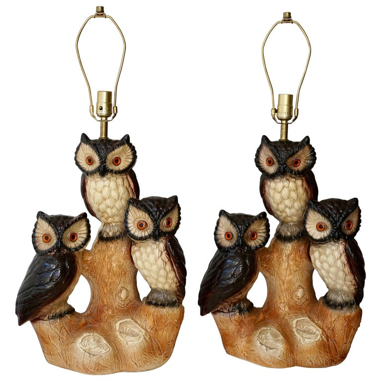 Two Ceramic Owl Table lamps