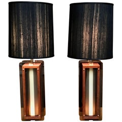 1960s Lamps in Chrome, Smoked Lucite and Walnut