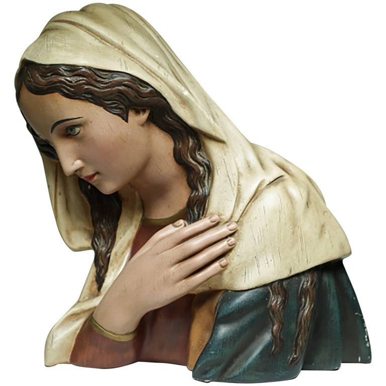 Early 20th Century French Virgin Mary Plaster Bust, circa 1930s