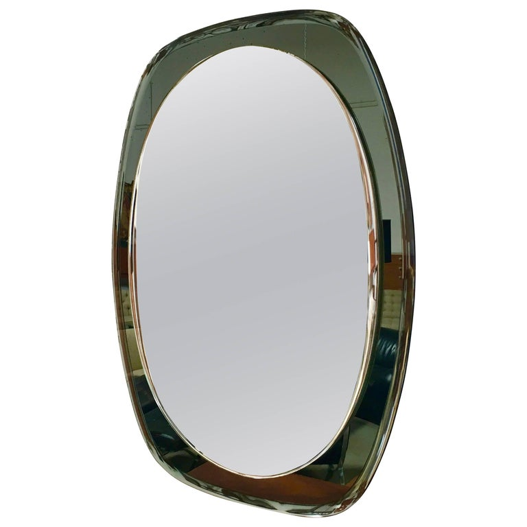 Oval Mirror in the Style of Fontana Arte, Italy, 1970s