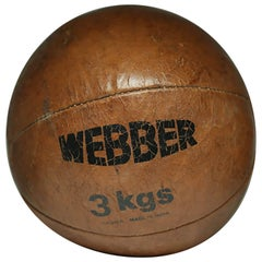 Early 20th Century Leather Medicine Ball, circa 1940s