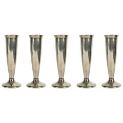 Silver-Plated Metal 1930s Small Flower Vases by Gio Ponti for Krupp, Set of Five