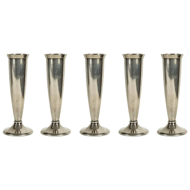 Silver Plated Metal 1930s Small Flower Vases By Gio Ponti For Krupp