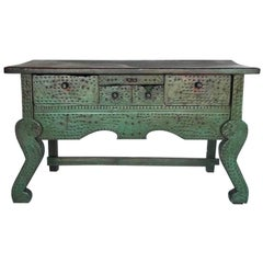 Antique Painted Guatemalan Nahuala Lion's Leg Folk Art Table with Five Drawers