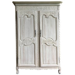 Louis XV Pine Armoire, Whitewashed, circa 1780