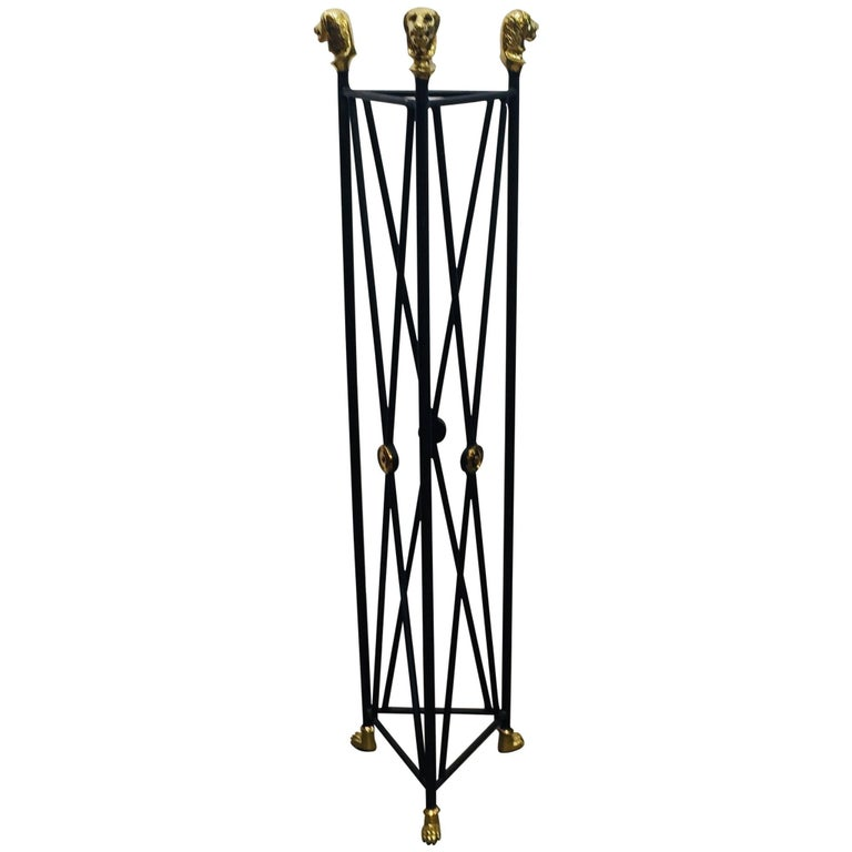 Pedestal Iron Stand with Lion Brass Heads and Paw Feet Egyptian Revival Style