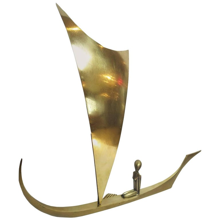 Art Deco Bronze Sailboat Sculpture by Karl Hagenauer For Sale