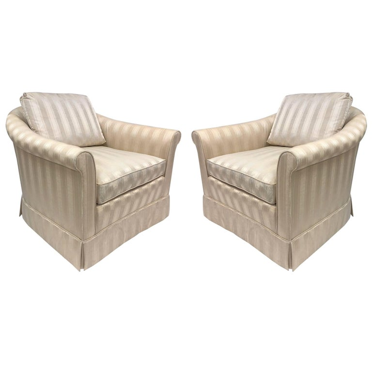 Pair of Baker Upholstered Lounge Chairs