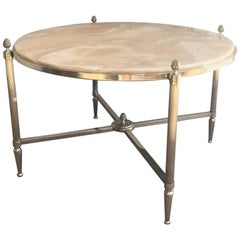 Round Brass Coffee Table with Onyx Top by Maison Bagués, circa 1940