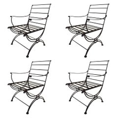 Set of Four Iron Lounge Chairs Attributed to Woodard