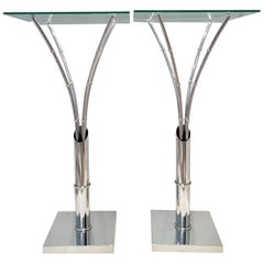 1970s Pair of Chrome Faux Bamboo Glass Top Tall Side Tables
