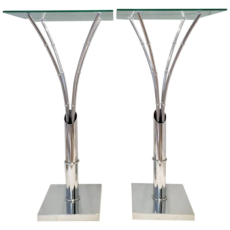 1970s Pair of Chrome Faux Bamboo Glass Top Tall Side Tables For Sale