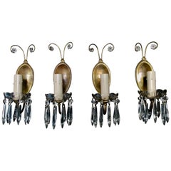 Elegant and Whimsical Set of Four 1920s Brass and Crystal Sconces