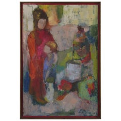 1960s Signed Oil on Canvas Mother and Child