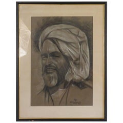 1950s Signed Charcoal Picture of Arabian Man