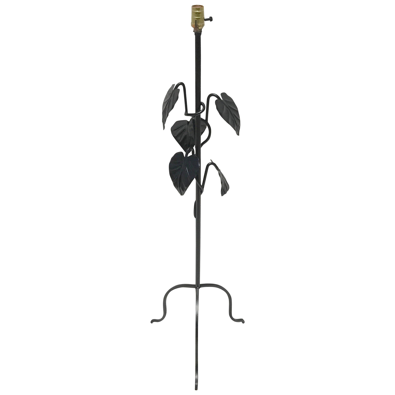 Salterini Style Wrought Iron Leaf Motif Floor Lamp