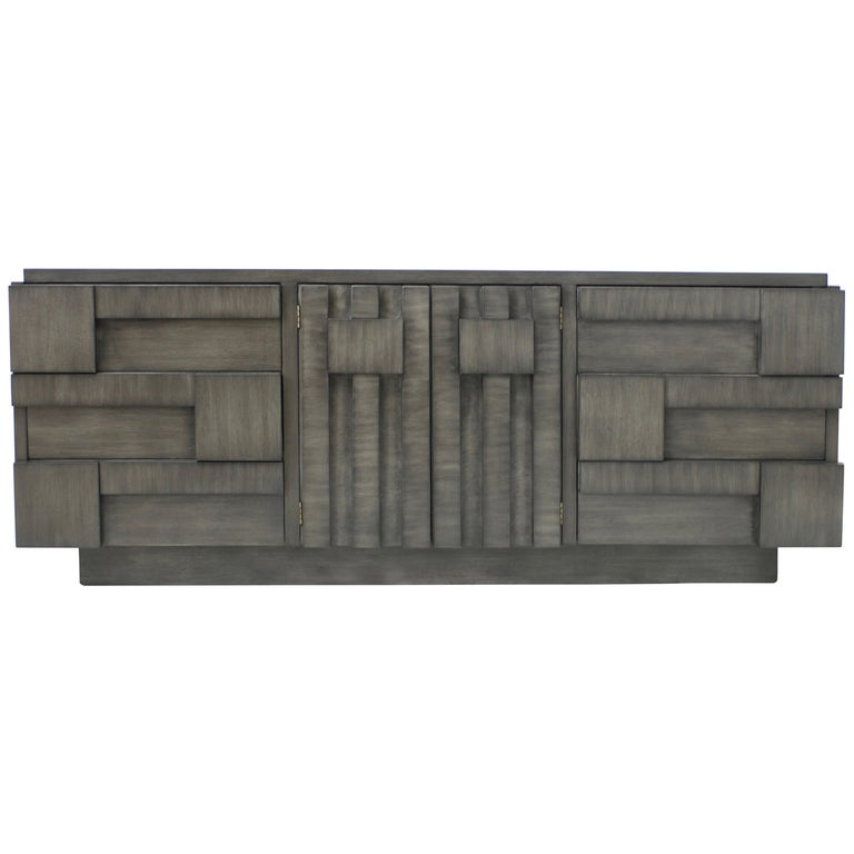 Brutalist Lane Mosaic Line Charcoal Gray Cabinet or Credenza