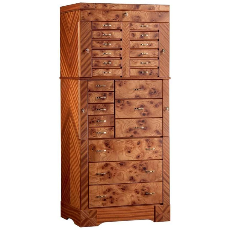 Agresti Contemporary Jewelry Armoire Safe in Elm Briar and ...